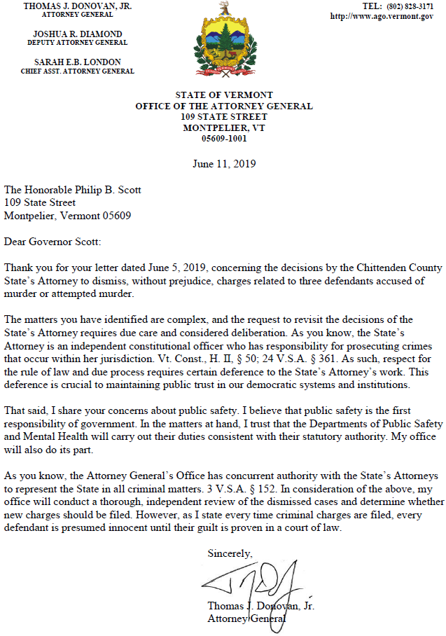 AG Donovan will review dismissed murder cases | Vermont Business