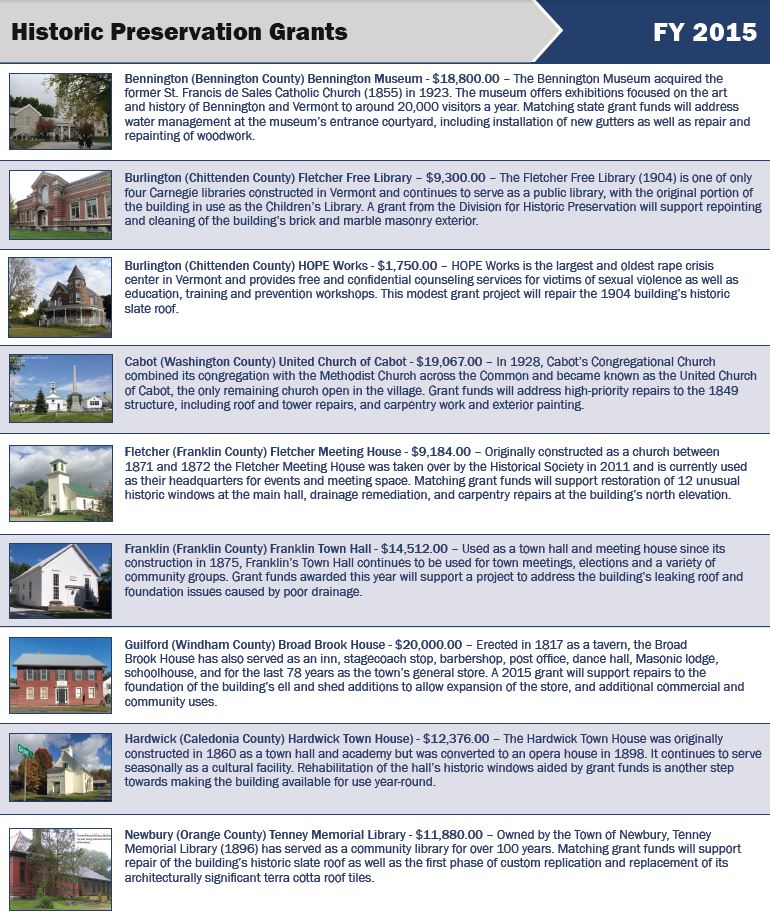 Governor Shumlin Announces 18 State Historic Preservation