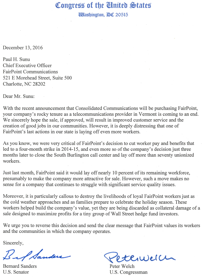 Sanders Welch call for reversal of FairPoint layoffs – Layoff Notice Template